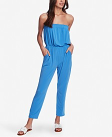 Strapless Cinched-Waist Jumpsuit