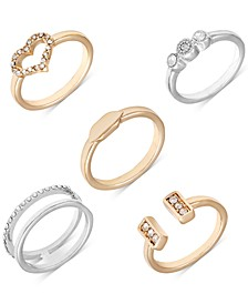 Two-Tone 5-Pc. Set Crystal Stacking Rings