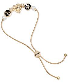 Gold-Tone Pavé, Imitation Pearl & Jet Logo Heart Slider Bracelet