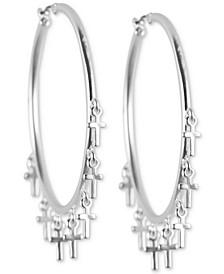 Silver-Tone Large Cross Charm Hoop Earrings