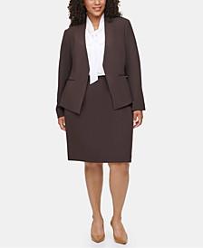 Plus Size Asymmetrical Jacket, Tie-Neck Blouse & Pencil Skirt