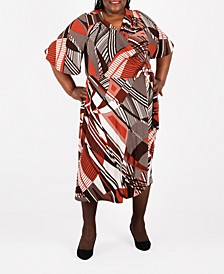 Plus Size Midi Wrap Dress
