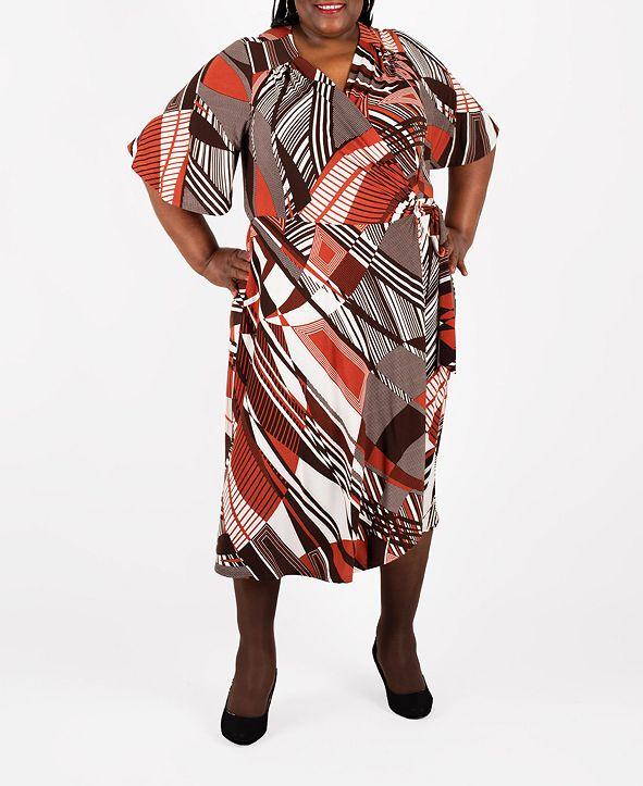 Robbie Bee Plus Size Midi Wrap Dress