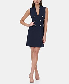 Sleeveless Button Sheath Dress