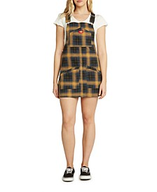 Juniors' Plaid Overall Mini Dress