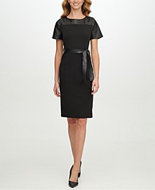 Faux-Leather Belted Sheath Dress