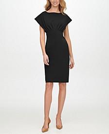Scuba-Crepe Empire-Waist Sheath Dress