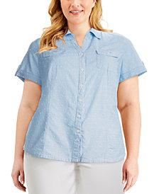 Karen Scott Plus Size Cotton Clip-Dot Button-Front Shirt, Created for Macy's