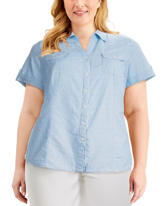 Karen Scott Plus Size Cotton Clip-Dot Button-Front Shirt, Created for Macy's