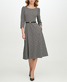 Belted Zig-Zag Midi Dress