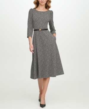 1930s Style Clothing and Fashion Calvin Klein Belted Zig-Zag Midi Dress $79.99 AT vintagedancer.com