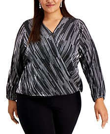 Plus Size Metallic Surplice Top,