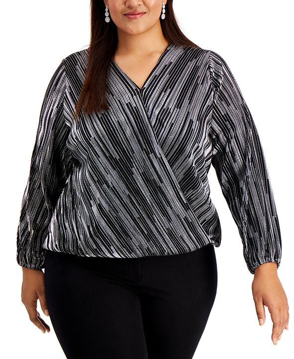 Alfani Plus Size Metallic Surplice Top,