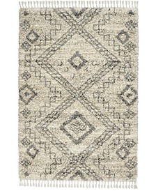 "Oslo Shag OSL02 Ivory and Gray 7'10"" x 10'6"" Area Rug"