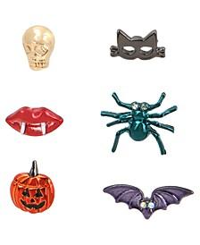 Multi-Tone 6-Pc. Set Pavé Spooky Single Stud Earrings