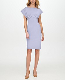 Scuba-Crepe Empire-Waist Sheath Dress