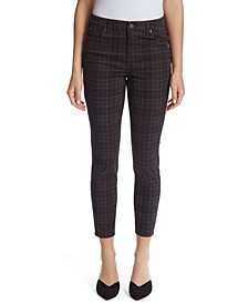 High-Rise Plaid Ankle Skinny Jeans