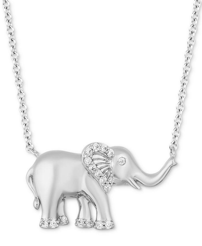 "Hallmark Diamonds - Diamond Elephant Pendant Necklace (1/8 ct. t.w.) in Sterling Silver, 16"" + 2"" extender"