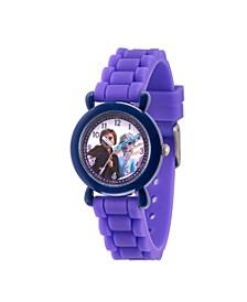 Disney Frozen 2 Elsa, Anna Girls' Blue Plastic Time Teacher Watch 32mm