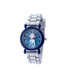 Disney Frozen 2 Elsa Girl's Blue Plastic Time Teacher Watch 32mm