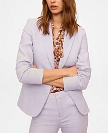 Women's Linen Button Blazer