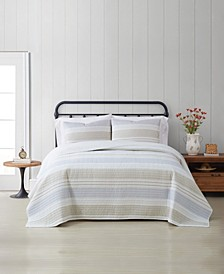 Spa Stripe 3-Piece King Quilt Set