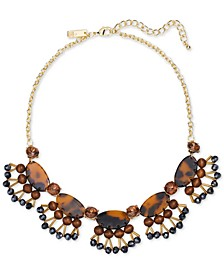 """INC Gold-Tone Tortoise-Look & Wood Statement Necklace, 17"""" + 3"""" extender, Created for Macy's"""