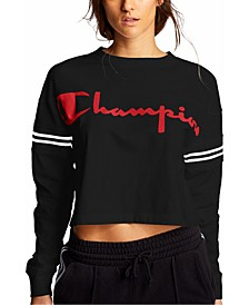 Cotton Logo Long-Sleeve Cropped Sweatshirt