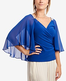 Chiffon-Cape Embellished-Shoulder Top
