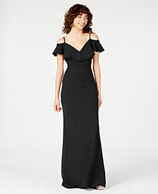 Juniors' Off-The-Shoulder Popover Gown