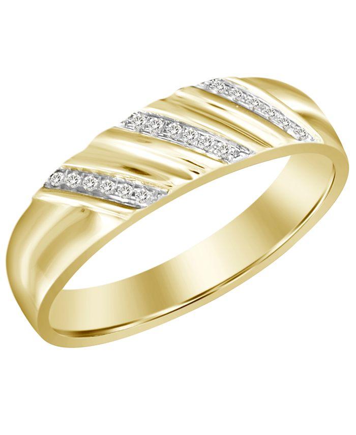 Macy's - Men's Diamond Accent Band in 10K Yellow Gold