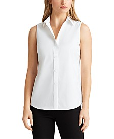 Petite Stretch Sleeveless Shirt