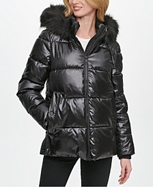 High-Shine Faux-Fur Trim Hooded Puffer Coat