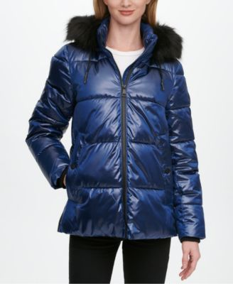 High-Shine Faux-Fur Trim Hooded Puffer Coat