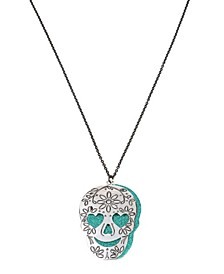 Engraved Double Skull Pendant Long Necklace