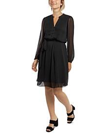 Petite Long-Sleeve Pintuck Dress