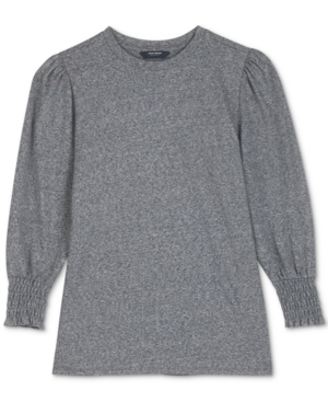 Lucky Brand Smock Cuff Cotton Blend Knit Top In Heather Grey