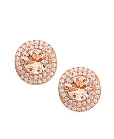 Rose Gold Plated Simulated Morganite Love Knot Stud Earrings