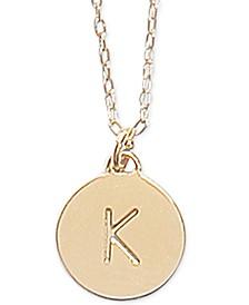"Gold-Tone Initial Disc Pendant Necklace , 17"" + 3"" extender"