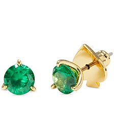 Gold-Tone Stone Stud Earrings