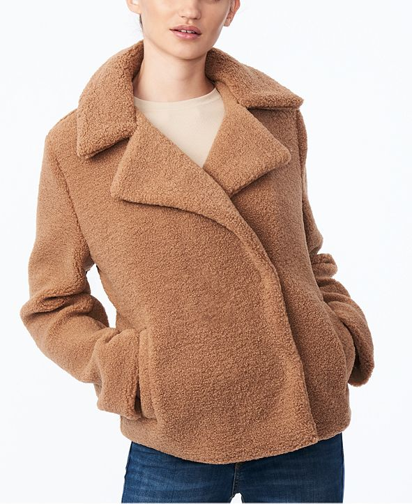 Collection B Juniors' Faux-Fur Teddy Coat, Created for Macy's