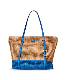 Crochet Straw Colorblock Snap Tote Bag