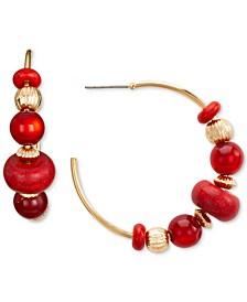 "Gold-Tone Medium Red Beaded C-Hoop Earrings, 1.5"", Created for Macy's"