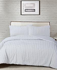 CLOSEOUT! White Birch Cotton 3-Pc. Tufted Chenille Stripe Queen Comforter Set