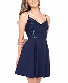 Juniors' Sequin V-Neck Dress