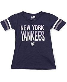 New Era Youth Girls New York Glitter Tie Up T-Shirt