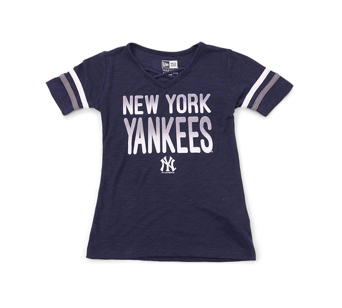 New Era Youth Girls New York Glitter Tie Up T-Shirt