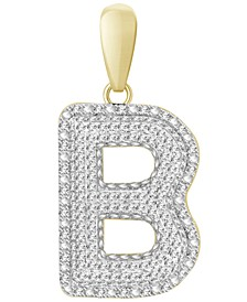Men's Diamond (3/8 ct.t.w.) Initial Pendant in 10K Yellow Gold