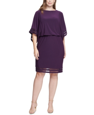 Plus Size Illusion-Trim Blouson Dress