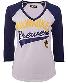 G-III Sports Women's Milwaukee Brewers Its A Game Raglan T-Shirt